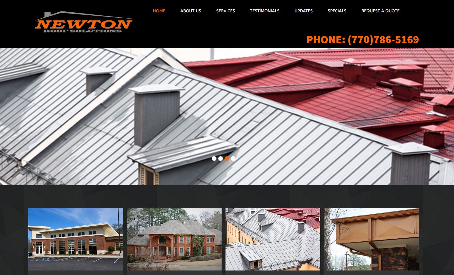 Solia Media Designed Website - Newton Roof